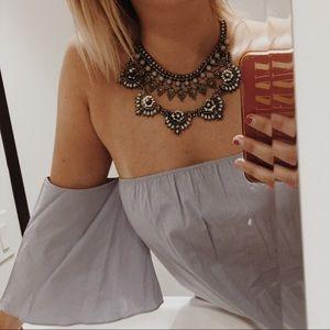 Tops - Blue off the shoulder blouse